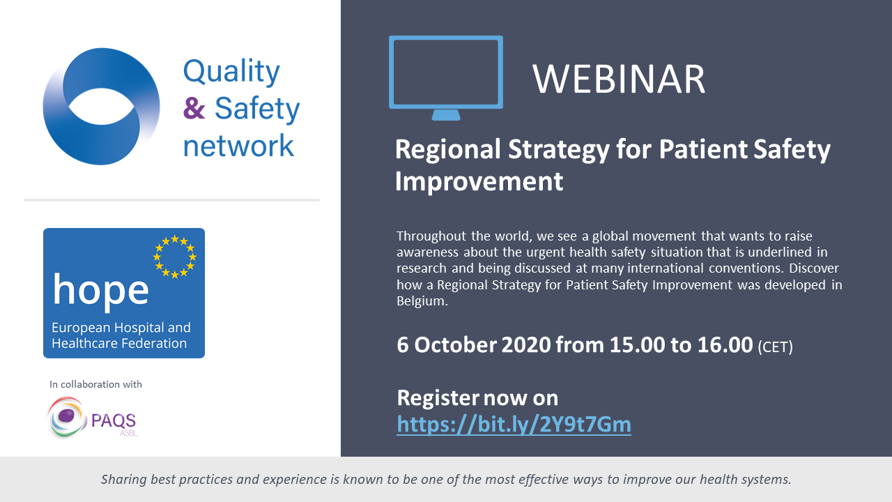 Hope Quality And Safety Network Webinar Development Of Regional Strategy For Patient Safety Improvement Hope